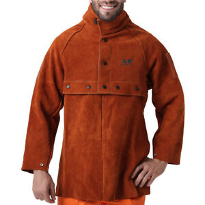 Ap 7188 7189 Flame Retardant Cowhide Leather Welding Cape Sleeves W 20 Bib Set