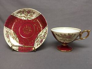 Beautiful Vintage Pedestal Tea Coffee Cup Saucer Maroon Gold Floral