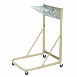 Safco Steel Sheet File Mobile Rack 12 Hanging Clamps Sand 5026 New