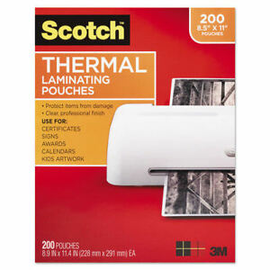 3m Ltr Size Thermal Laminating Pouches 11 2 5x8 9 10 200 Per Pack Tp3854200 New