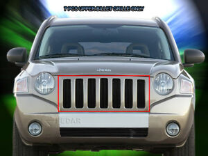 Black Billet Grille Front Grill Upper Insert For 2006 2010 Jeep Compass