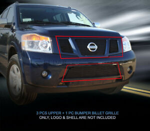 Black Billet Grille Front Grill Combo Insert For 2008 2015 Nissan Armada