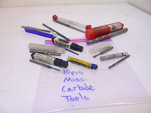 Used 10pcs Various Carbide Tools end Mills Jobber Drills Reamers