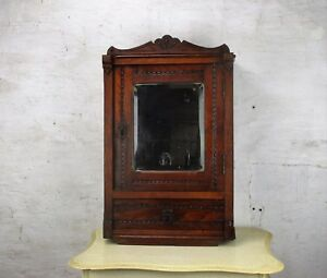 L Vintage Hand Carved Oak Kitchen Apothecary Wall Cabinet Beveled Glass Mirror