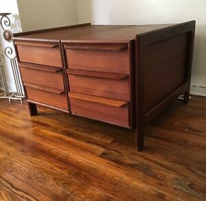 Mid Century Danish Modern Large Nightstand End Side Coffee Table Teak Drawer