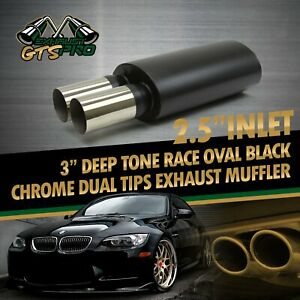 Performance 1x Deep Tone Loud Weld Oval Matte Black Exhaust Muffler