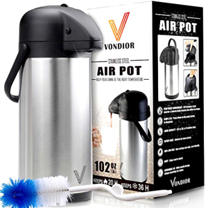 Thermal Coffee Airpot Stainless Steel Beverage Dispenser 102 Oz By Vondior