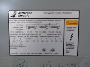 Jefferson Electric Dry Type Transformer 423 0020 064 460 Delta