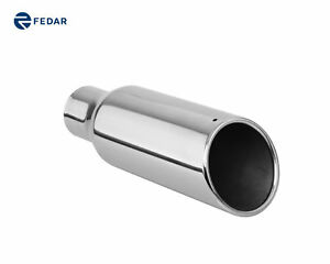 2 5 Inch Inlet 4 Inch Outlet 12 Long Rolled End Angle Cut Exhaust Tip Tail Pipe