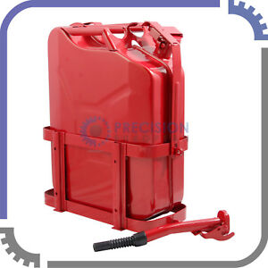 Jerry Can With Holder 20l Liter 5 Gallons Steel Tank Fuel Gas Gasoline Red