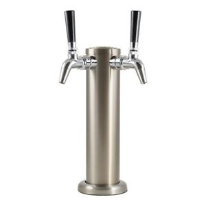 Double Stainless Steel Draft Tower With Chrome Intertap Faucets Keg Beer Homebre