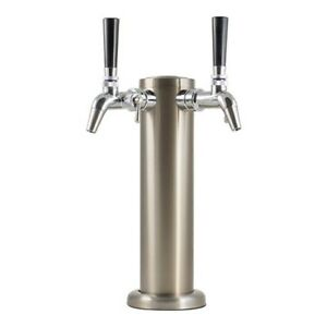 Double Stainless Steel Draft Tower With Intertap Flow Control Faucets Keg Beer