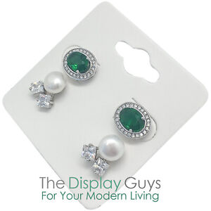 500pc 2x2 Inch White Paper Earrings Display Hanging Cards For Accessory Jewelry