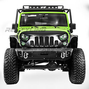Angry Skull Ii Matte Black Replacement Mesh Grille For 07 18 Jeep Wrangler Jk