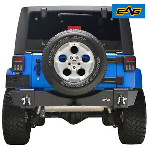 Eag R6 Black Textured Offroad Stubby Rear Bumper For 2007 2018 Jeep Wrangler Jk