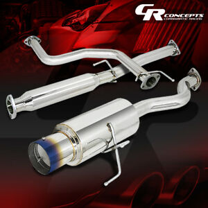 4 5 Muffler Burnt Tip Catback Racing Exhaust System For 96 00 Honda Civic 3 dr