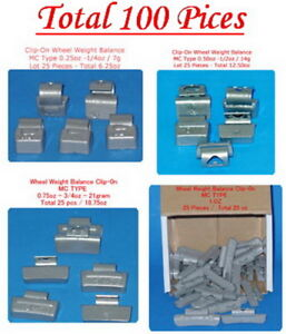 100 Pcs Assortment Clip On Wheel Weight Balance Mc Style 0 25 0 50 0 75 1 00 Oz
