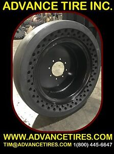 Solid Skid Steer Tire 33x12 20 Smooth Solid With Rim 12 16 5 Flat Proof Bobcat