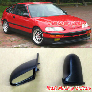 Spn Style Side Mirrors Abs Black manual Fits 88 91 Honda Crx 2dr