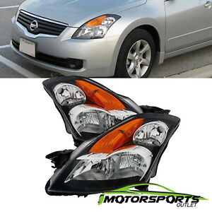 For 2007 2009 Nissan Altima Factory Oe Style Black Replacement Headlights Pair