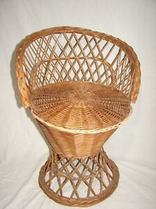 Vintage Wicker Rattan Child S Peacock Chair Mid Century Tiki Bohemian Boho