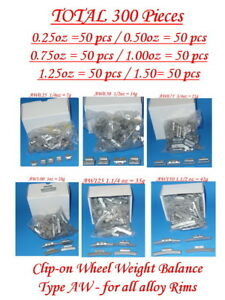 300 Pcs Assortment Clip on Wheel Weight Balance Aw 0 25 0 50 0 75 1 0 1 25 1 50z