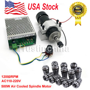 110v 220v Cnc 500w Air Cooling Spindle Motor 52mm Clamps Speed Governor Er11
