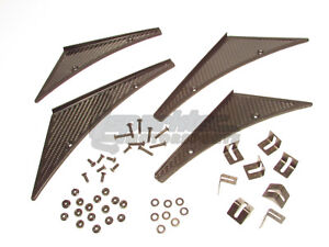 Nrg Innovations Carbon Fiber Canards 4 Piece Kit Front Rear Bumpers Universal