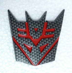 Carbon Fiber Transformers Decepticon Emblem Badge Decal Trunk Sticker
