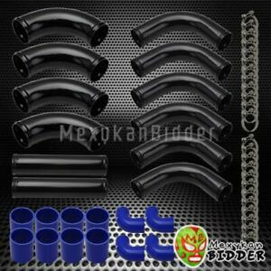 Diy 12pc 2 5 Turbo Intercooler Piping Kit Black Pipes blue Couplers t Clamps