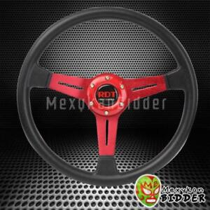 350mm Black Pu Racing Steering Wheel Red Aluminum Frame W horn Button