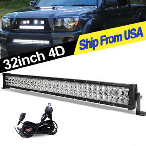34inch 420w Led Light Bar Spot Flood Boat 4x4 Tractor Offroad Driving 32 Harness