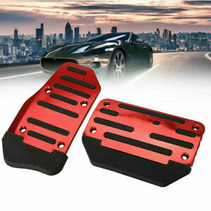 2x Automatic Car Nonslip Brake Accelerator Pedal Cover Set Foot Belt Drill Red