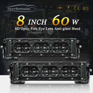 2x Offroad 8inch 60w Led Work Light Bars Jeep 4wd Ute Suv Bumper Reverse Driving