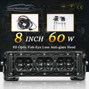 7inch 60w Led Light Bar Spot Backup Driving Pickup Jeep Boat Offroad 8 harness