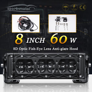 8inch 60w Led Light Bar Spot Fog Reverse Driving Truck Jeep Atv Offroad