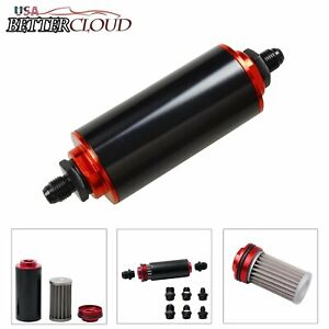 Black Red An6 An8 An10 Inline Fuel Filter High Flow 100 Micron Cleanable Ss
