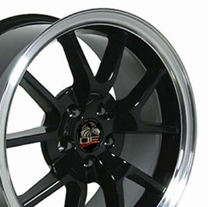 18x9 Rims Fit Mustang Fr500 Style Wheels Black Mach D Set