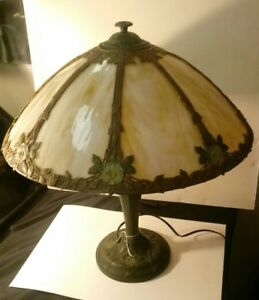8 Panel Stain Glass Lamp W Primrose Motif On Shade And Base