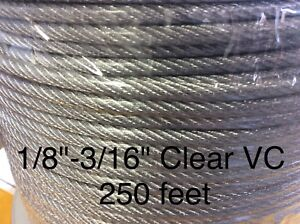 Vinyl Coated Steel Aircraft Cable Wire Rope 250 1 8 Vc 3 16 7x7 Clear
