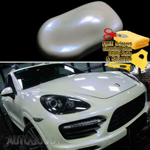 Gloss Pearl White Color Change To Purple Vinyl Film Wrap Bubble Free Air Release