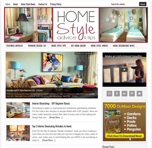 Home Decorating Affiliate Website Business For Sale Auto updating Content