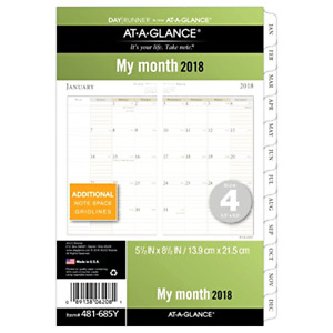 Day Runners Monthly Planner Refills Pages Year 2018 Planner January December