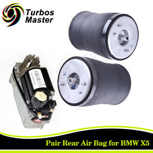 For 2000 2005 Bmw X5 E53 Rear Air Suspension Springs And Compressor Pump Kit New