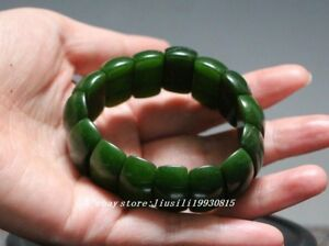 China Natural Exquisite Hand Carved Chinese Green Jade Bracelet