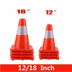 Lot 80 New 12 18 Traffic Sports Reflective Red Wide Body Safety Cones Hx