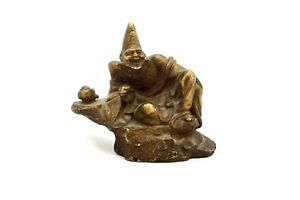 Antique Asian Chinese Bronze Figure Laughing Man Drinking Tea