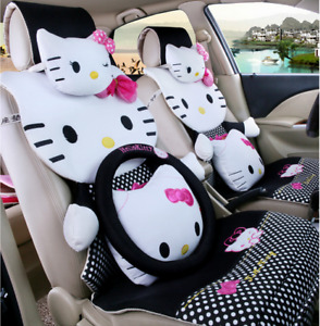 000000new Hello Kitty Car Seat Covers Steering Wheel Cover Head Restraint 19pcs