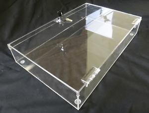 Acrylic Rectangular Countertop Display Case Lock 24 x18 x3 Display Box Acrylic