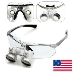 Silver Dental Surgical Medical Binocular Loupes 3 5x 420mm Optical Glass Loupe